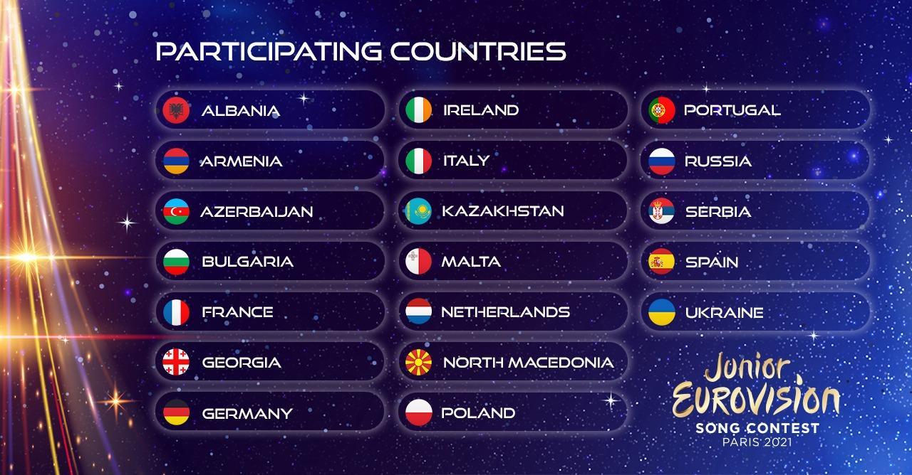 Junior Eurovision 2021 - 19 Paesi